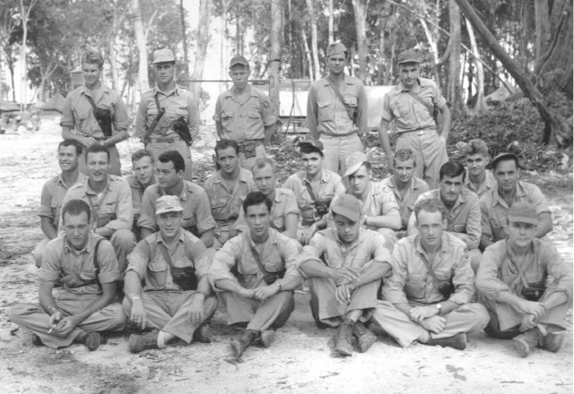 """""""B"""" Flight, 75th Bombardment Squadron, Stirling, Island, May 1944 Long, Beaumont, Meader, Gray, Russell, Slotterbeck, Brennan, Seehorn, Smith, Granger Hochberg, Plympton, Wagner, McNeil, Schaub, Dellard Routh, Greenfield, Travis, Grover, Walgren, Rigelsky"""