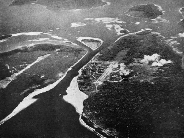 Buka Passage between Bougainville (left) and Buka (right) islands in 1943. Two Japanese airfields are visible, Buka airfield (center) and Bonis airfield (left)