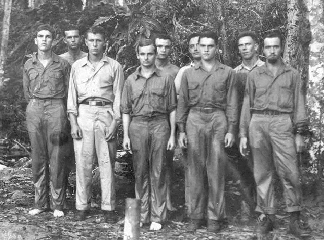 Baptism group - Wayne second from left  rear, Stan Seehorne, center front row. Hollandia, New Guinea September 5, 1944