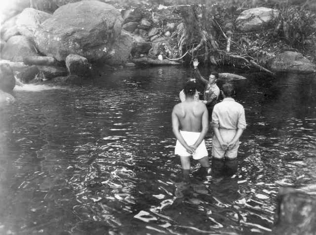 Wayne, in white boxers, waiting to be baptized Hollandia, New Guinea September 5, 1944