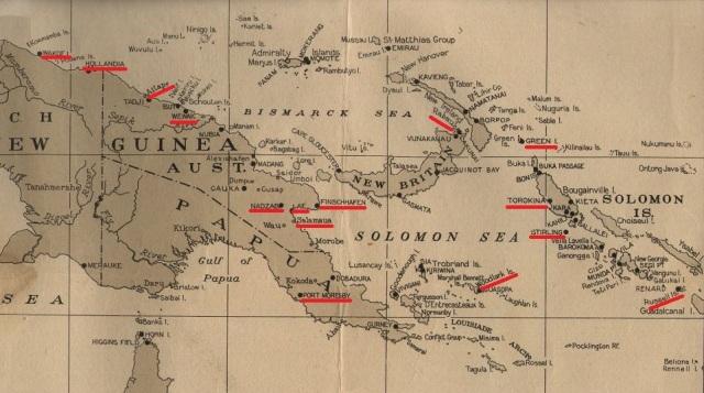 """Map courtesy of Peter Dunn of  """"Australia @ War"""" at www.ozatwar.com."""