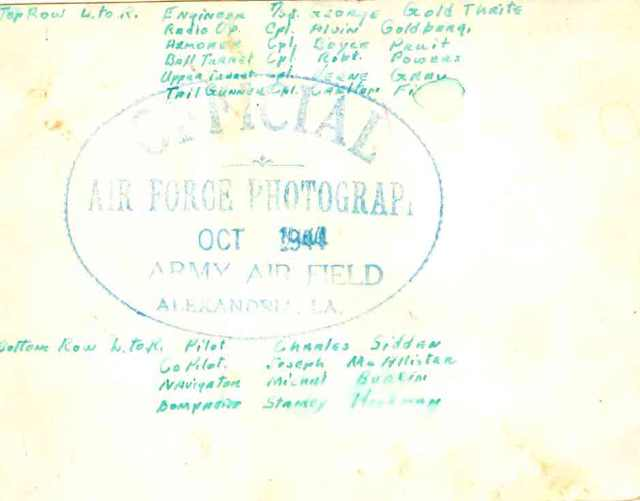 Crew 7678 list Alexandria AAF 1944