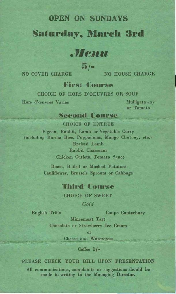Veeraswamy's - March 3, 1945 #2
