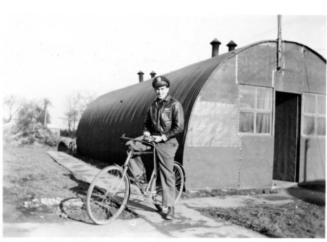 Kenneth E. Cline outside his living quarters at Wendling.
